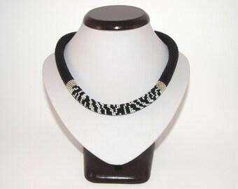 Black&White Beaded Necklace - Zebra Crochet Rope Beadwork - Black White Silver - Handmade Seed Beads Jewelry - Elegant Classic