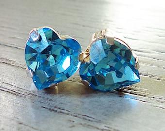 Swarovski Blue Crystal, Blue Heart Stud Earrings, Heart jewelry, Gifts for her, Swarovski Crystal, Blue earrings, Valentines Day
