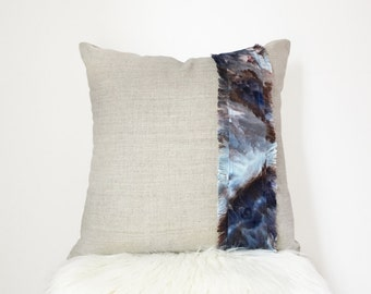 Boho Pillow Cover 14x14 Pillow in Natural Linen with Fringed Hand dyed Linen for Your Bohemian Home Decor