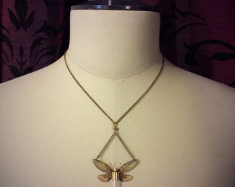 """Necklace steampunk fairy transparent wing and COG """"antomologie"""" mechanical Butterfly"""
