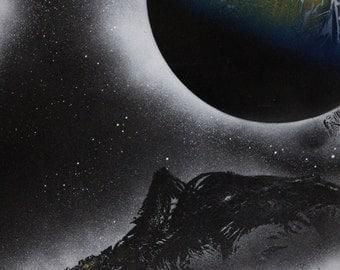 Spray Paint Art, Space Art, Original Speed Painting, Planet Painting, Planet Art, Space Painting, Galaxy Art, Spray Art, Space Spray Paint