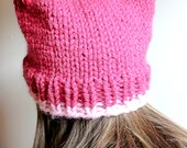 Pink Cat Beanie, Cat Ears Hat, Chunky Knit Cat Hat, Knitted Pussy Hat, Feminist Hat, Cat Beanie, Womens March Hat, Pink Pussycat Hat