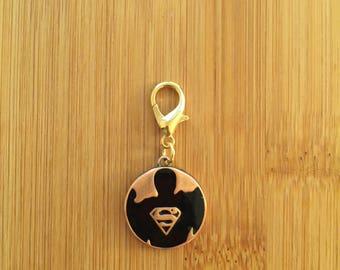 Superman zipper charm with key ring, Superman zipper pull, Superman purse charm, Superman keychain