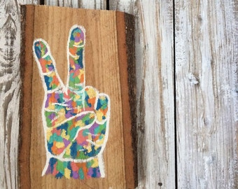 Peace Out, Girl Scout | Peace Sign | Peace Sign Art | Hippie Decor | Boho Decor | Boho | Hand Painted| Hand Lettered | Wooden Sign