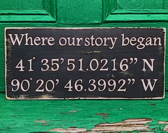 Where our story began /  Latitude Longitude / Coordinates sign / Wedding gift / Wedding Location / Anniversary Gift / Love Sign / Farmhouse