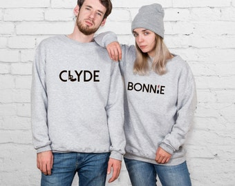 Bonnie and Clyde Couple Sweaters Sweatshirts Pair 2 Clothing Couple Sweaters Matching Sweatshirts Matching Clothes Gift YPc012