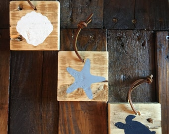 Reclaimed Wood Ornaments with Seascape- Set of 3