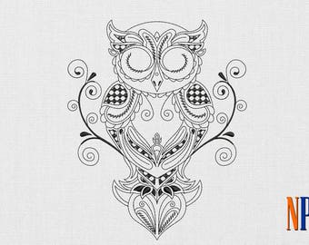 Patterned Owl machine embroidery design. Bird embroidery design. Embroidery file
