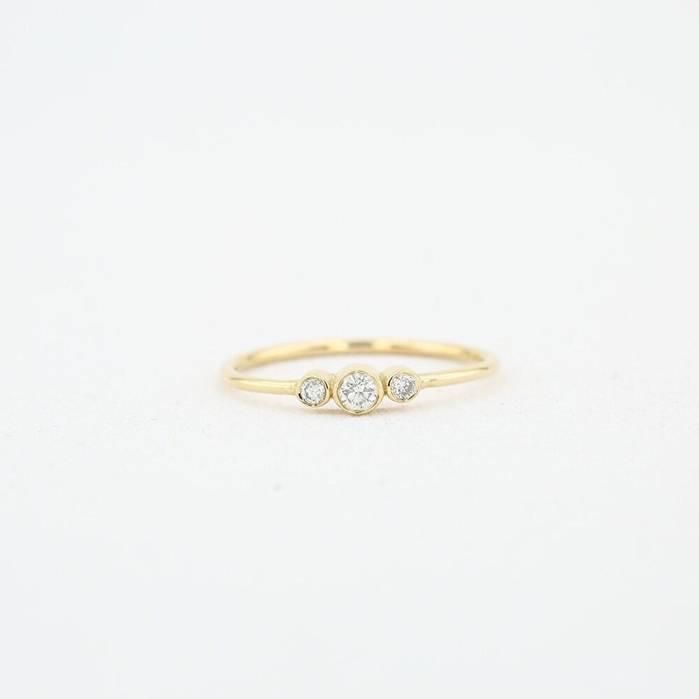 Three Stone Diamond Engagement Ring/ 14k Gold Three Stone Round Brilliant Cut Diamond Engagement Ring/ Dainty Three Stone Bezel Set Ring