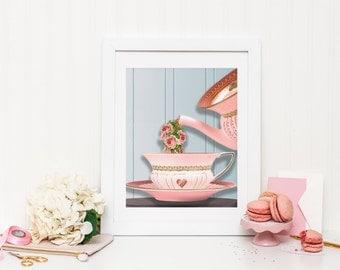 Tea Print - Tea Poster - Tea Wall Art - Floral Print - Floral Wall Art - Kitchen poster - Kitchen Print