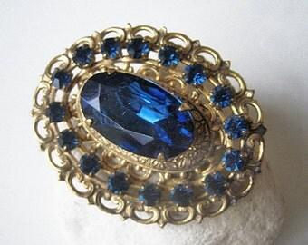 Antique bohemian brooch, Antique Art Nouveau brooch, Antique blue sapphire brooch, Antique costume brooch, Czech glass brooch, Blue Sapphire