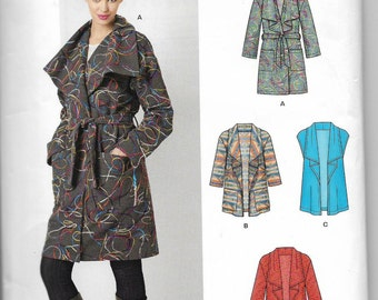 Uncut, Misses Size 6 to 24, Sewing Pattern, New Look S0267, Easy, Jacket, Coat, Fly Away Cardigan, Wrap, Fleece, Wool, Small Medium Plus