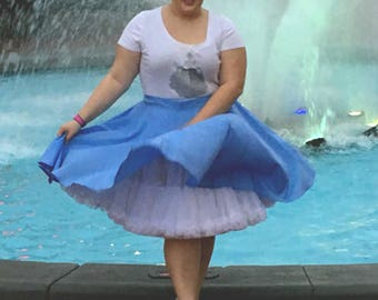 Plus Size Circle Skirt Cotton Blend Circle Skirt - Knee Length Circle Skirt - Curvy Girl BBW Skirt Many Color Choices - Skater Skirt