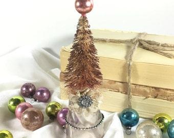 Vintage Christmas Bottle brush tree altered bottle Rose Gold