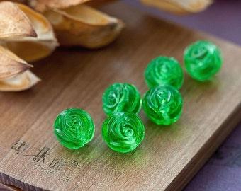 Vintage Glass Beads Japanese Lime Green Rose Flower Beads 10mm