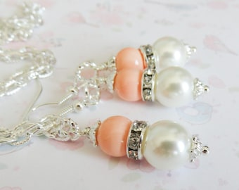Peach Bridesmaid Jewelry Set, peach pearl earrings, peach pearl necklace, bridal party gift, crystal jewelry