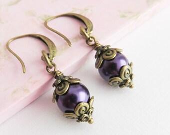 Dark Purple Earrings, Dangle Earrings, Pearl Earrings, Prom Jewelry, Rustic Jewelry, Gift For Her, Bronze Jewelry