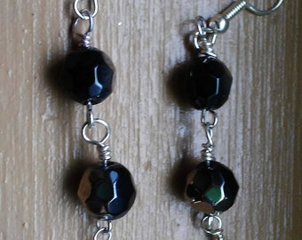 Ayla's Bead Creations Black and White dangle earrings