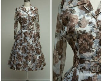 Vintage 1950s Dress • Late Summer • Brown Floral Chiffon 50s Shirtwaist Party Dress Size Small