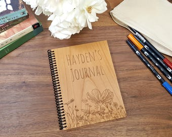 Custom Notebook - Laser Engraved Wood - Lined or Blank Pages - Personalized Journal