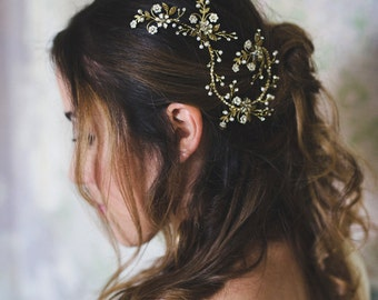 Bridal vine hair piece, crystal headpiece, bride hair jewelry, floral hair comb, pearl hairpiece, gold hair accessory, wedding hair (#250)