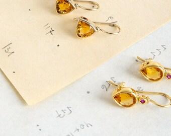 Citrine Earring, Tear Drop Dangle Earring, Yellow Gemstone Jewelry, 18k Gold Earring Drop, Geometric Earring Sapphire