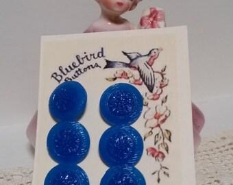 VINTAGE CZECH GLASS Buttons 18mm 1930s Set of Six Azure Blue Floral Buttons Baby Clothing Boys Girls Craft Supplies