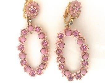 Vintage Pink Enamel Flower Earrings,Clip on Earrings,Dangle Earrings,Robert, Signed, 1960's, Retro Jewelry,