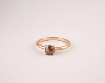 18ct Rose Gold with Rose Cut Diamond Engagement Ring 0.64ct Red Diamond Alternative Engagement Ring Antique Vintage style solitaire delicate