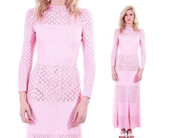 Vintage Pink Crochet Maxi Dress Long Sleeved 70's Retro Women's Size XS / Small