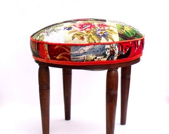 Unique Upholstered  Footstool Pouffe Ottoman French Needlepoint Tapestries velvet piped - one of a kind