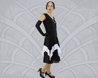 Roaring 20s dress in black and white with handkerchief skirt, 1920s fashion, black Great Gatsby dress, Charleston ...