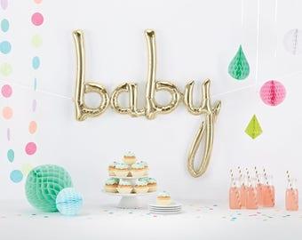 Baby Script Balloon, White Gold Baby Balloon, Baby Shower Balloon, Pregnancy Photo Prop, Balloon Banner, Baby Announcement, Letter Balloon