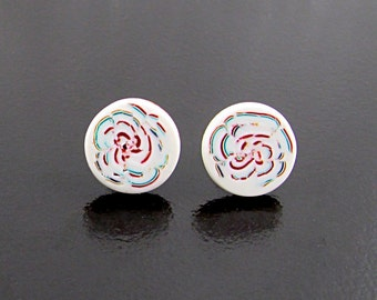 Cream Abstract Floral Studs, Multicolored Flower Earrings, Polymer Clay Millefiori Posts