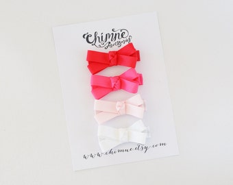 Baby Hair Clips Set / Small Hair Bows / Baby Bow Clip / Toddler Hair Clips / Pink White Ribbon Hair Bow Clips / Infant Hair Clips