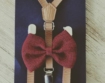 Ring Bearer Outfit Wine Little Boy Suspenders Rustic Wedding Suspenders Wine Baby Bowtie Suspenders Set Burgundy Bow Tie Braces
