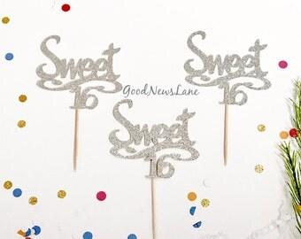 12CT Sweet 16 Cupcake Topper, Script Font Sweet Sixteen Glitter Birthday Cake Topper, Sweet 16, 16th Birthday Cake Topper
