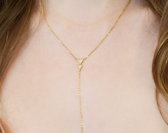 14k Gold Dipped Lariat Y Necklace, Gold Necklace, Minimalist Jewelry, Minimal Bar Lariat Necklace,