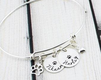 Sterling Silver Pet Jewelry - Cat Lover Gift - Dog Lover Gift - Dog Bracelet - Cat Bracelet - Paw Print Bracelet - Pet Memorial Bracelet