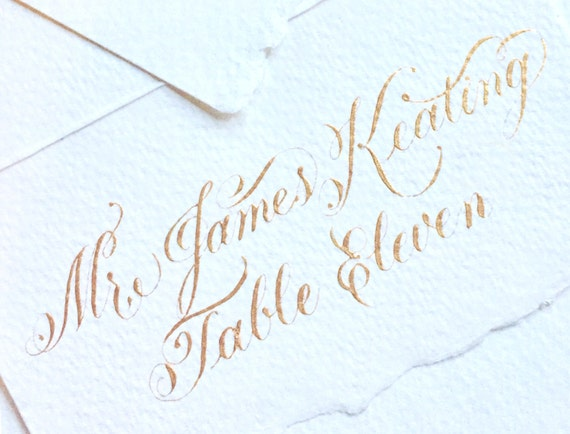 THE LOVE SCRIPT | Wedding Place Cards | Flourished Escort Cards with Calligraphy | Gold Place Cards | Wedding Place Card Calligraphy