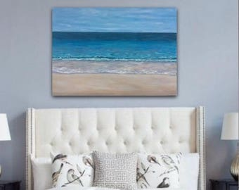 Original Large Abstract Painting turquoise blue Sea Painting Coastal Abstract Landscape Painting Large Seascape Painting