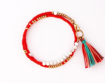 Boho Beaded Wrap Friendship Bracelet with Tassel