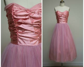 Vintage 1950s Dress • Candy Kisses • Pink Satin and Tulle 50s Party Dress Size Small