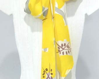 Skinny Scarf, Scarf for Wife, Posh Flower Scarf, Handpainted, Silk Sash, Yellow and Gray Evening Primrose Scarf, Silk Charmeuse, 5x72 inch
