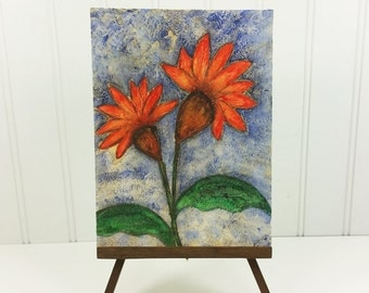 Two Orange Flowers - Whimsical Textured Mixed Media Summer Garden Original Painting
