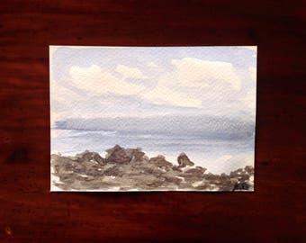 Seascape Watercolor Postcard Painting, Cloudy Day, Coastal Paintings, Sea Painting