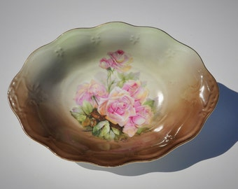 Antique Porcelain Serving Bowl, Mignon Z.S. & Co, Bavaria, 1880-1918 Scalloped Oval Bowl, Victorian Roses, Shabby Chic Cottage / Cabin Décor