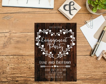 Rustic Wood Engagement Party Invitation Printable Heart Engagement Invite Heart Wreath Wedding Announcement Country Wedding Rustic Wedding
