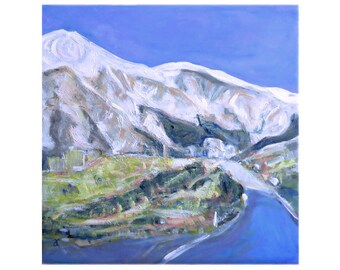 Mountain Road painting on canvas, travel art, NZ landscape, original art, wall art, square art, semi abstract, free shipping
