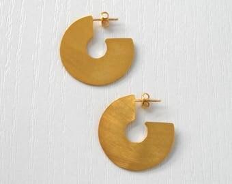 Gold Plated Discs, Dangle Earrings, Gold Plated Earrings, Minimalist Earrings, Geometric Earrings, Statement Earrings, Brass Earrings